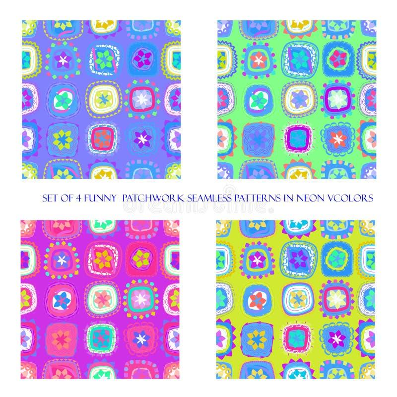 Sömlösa modeller i neonfärger vektor illustrationer