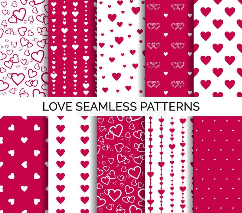 Sömlösa modeller med hjärtor Ställ in av vektorbakgrunder för valentins dag, bröllopparti stock illustrationer