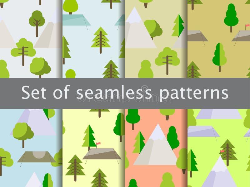 Sömlösa modeller med plana träd, tält och berg Affärsföretag och trekking vektor stock illustrationer
