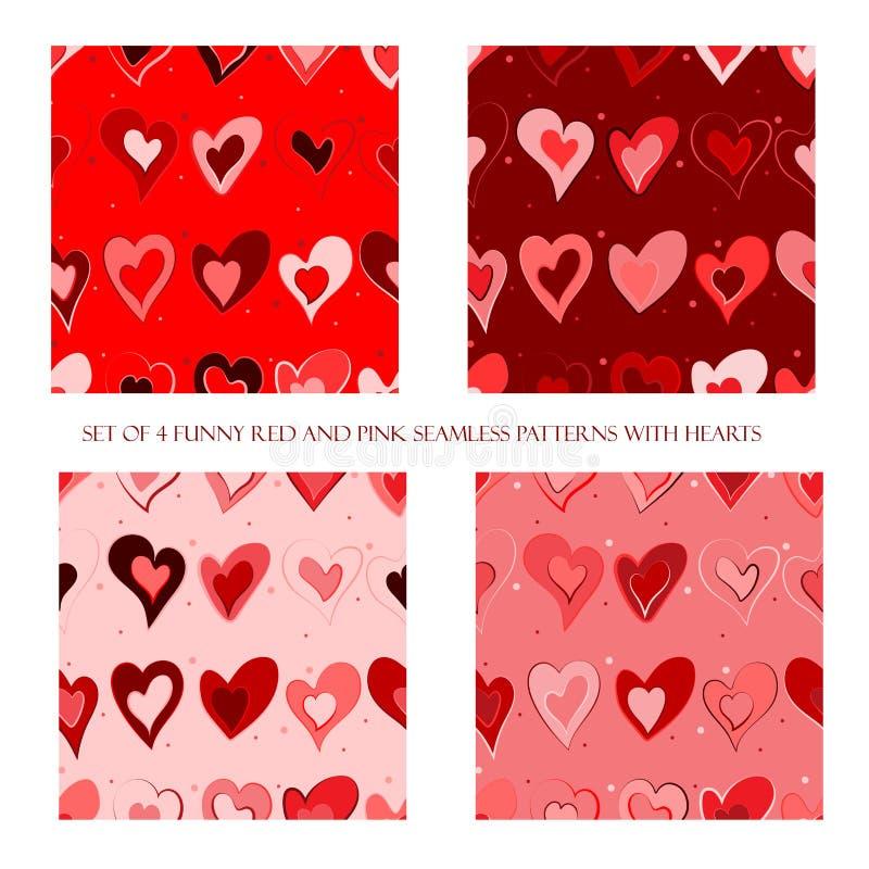Sömlösa modeller med röda och rosa hjärtor stock illustrationer