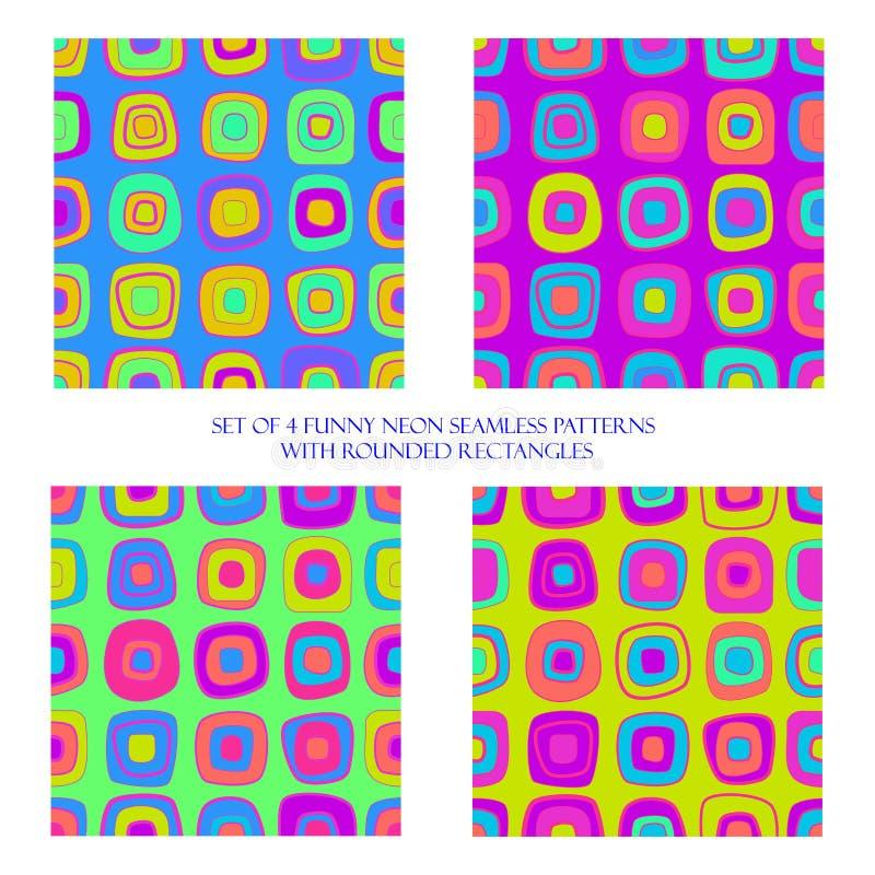 Sömlösa modeller med rundade rektanglar vektor illustrationer