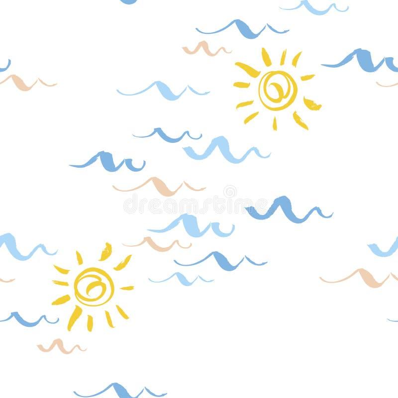 Sömlösa modeller med stiliserade blåa vågor och soltappningstil också vektor för coreldrawillustration royaltyfri illustrationer