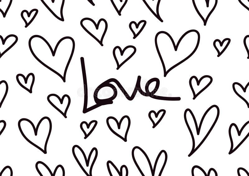Sömlösa modeller med svarta hjärtor, förälskelsebakgrund, hjärtaformvektor, valentindag, textur, torkduk, brölloptapet, papper stock illustrationer