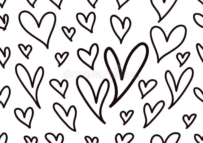 Sömlösa modeller med svartvita hjärtor, förälskelsebakgrund, hjärtaformvektor, valentindag, textur, torkduk, bröllop, papper royaltyfri illustrationer