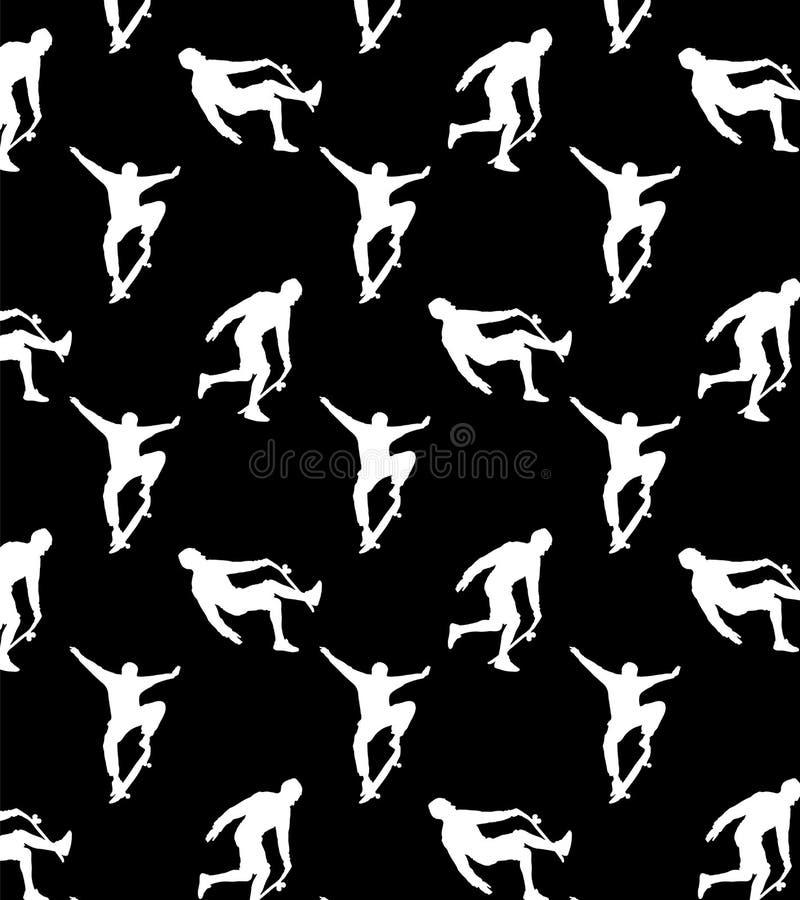 Sömlösa modeller med vita konturskateboarders på svart bakgrund stock illustrationer