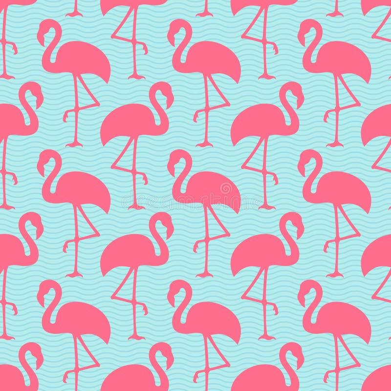 Sömlösa modellflamingo Ans Waves Pink And Blue royaltyfri illustrationer
