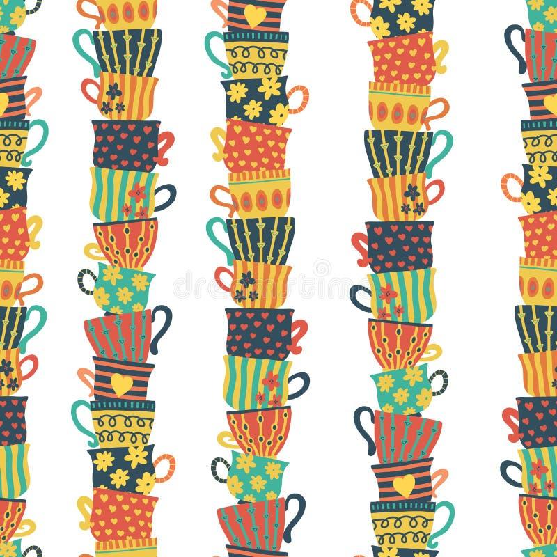 Sömlösa modellhögar av staplade färgrika koppar Färgrik bakgrund med te rånar Hand tecknad vektorillustration För meny kafé vektor illustrationer