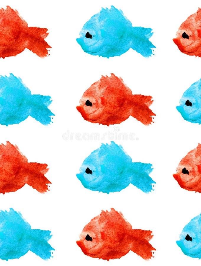 Sömlösa modellkonturer för vattenfärg av blåa och röda fiskar med blåtiran på vit bakgrund som isoleras i form av en fläck royaltyfri illustrationer