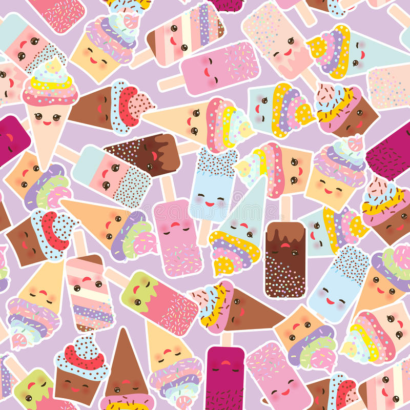 Sömlösa modellmuffin med kräm, glass i dillandekottar, isglass Kawaii med rosa färgkinder och blinkaögon, pastellfärgad färg vektor illustrationer