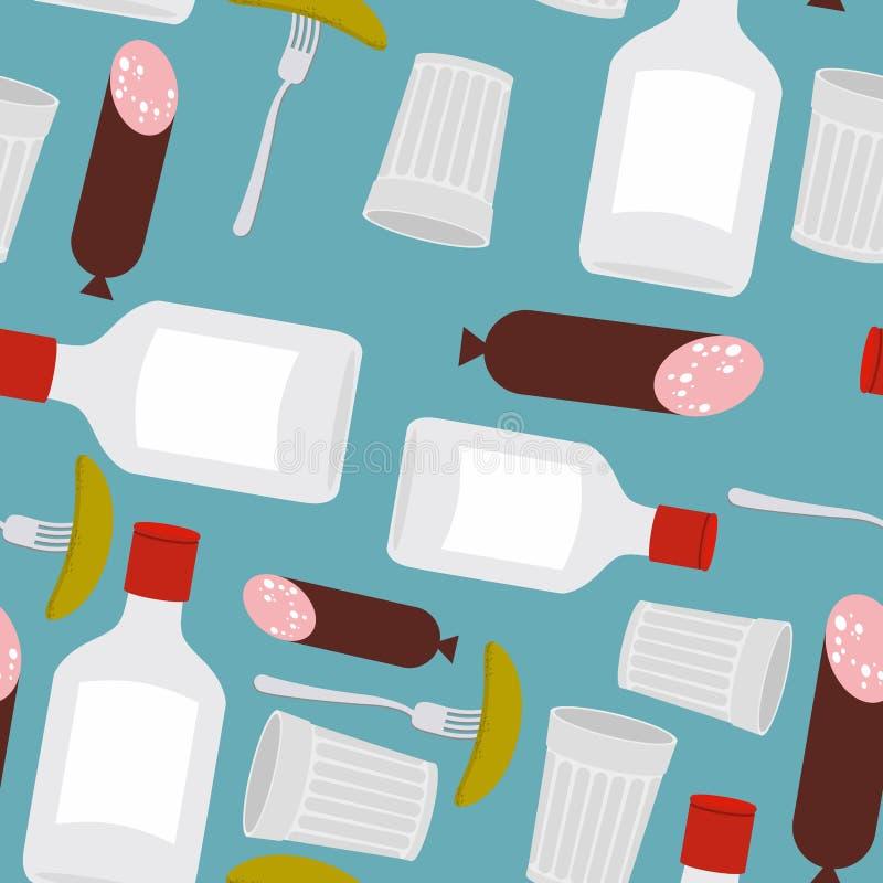 Sömlösa modellprodukter för en festmåltid: vodka och korv, glas stock illustrationer