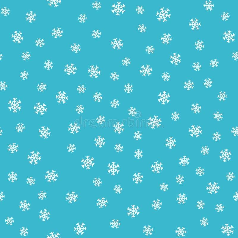 Sömlösa modellsnöflingor på blå bakgrund royaltyfri illustrationer