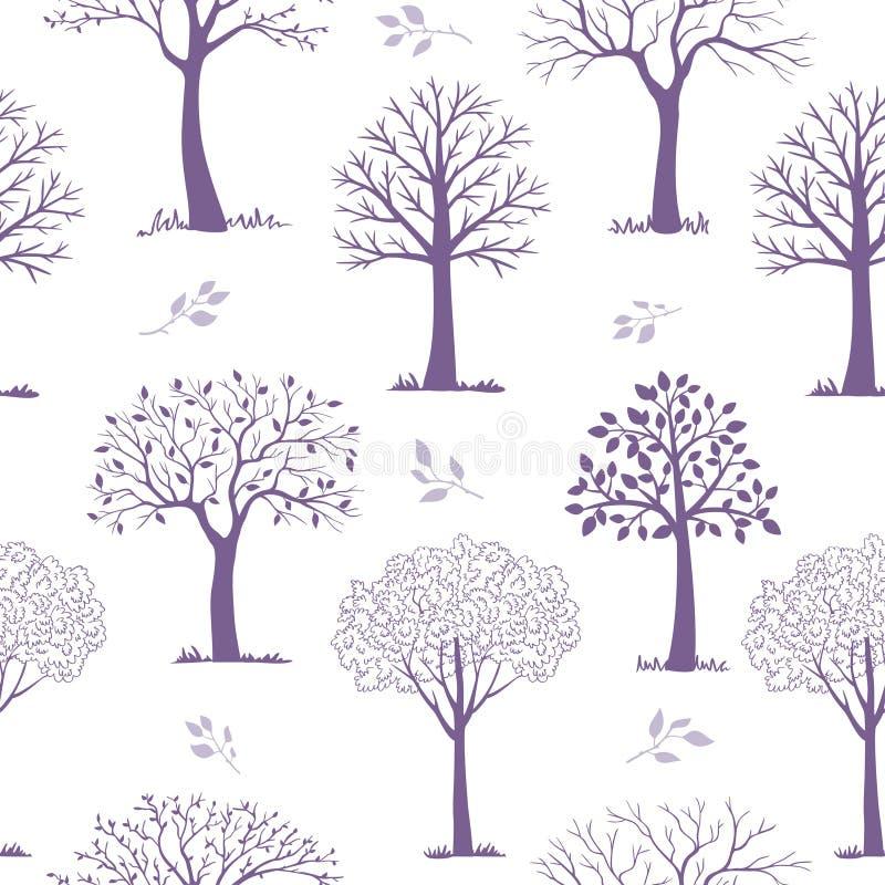 Sömlösa modellträd vektor illustrationer