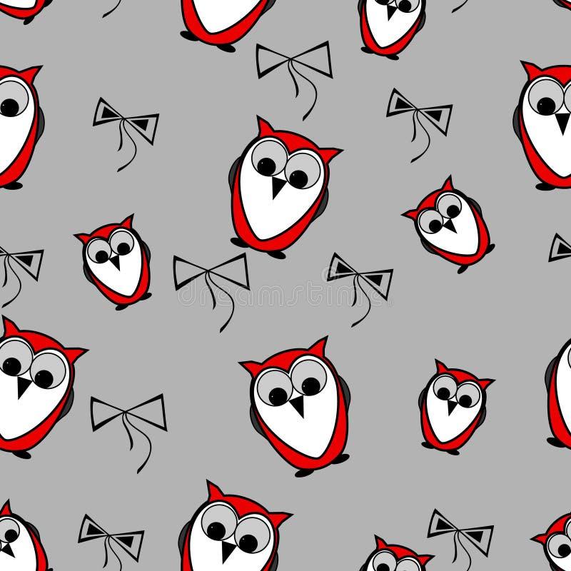 Sömlösa röda ugglafåglar mönstrar bakgrund med pilbågar vektor illustrationer
