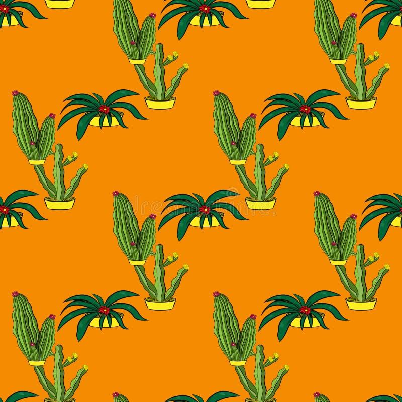 Sömlösa retro kaktusväxter för den hem- illustrationbakgrunden stock illustrationer