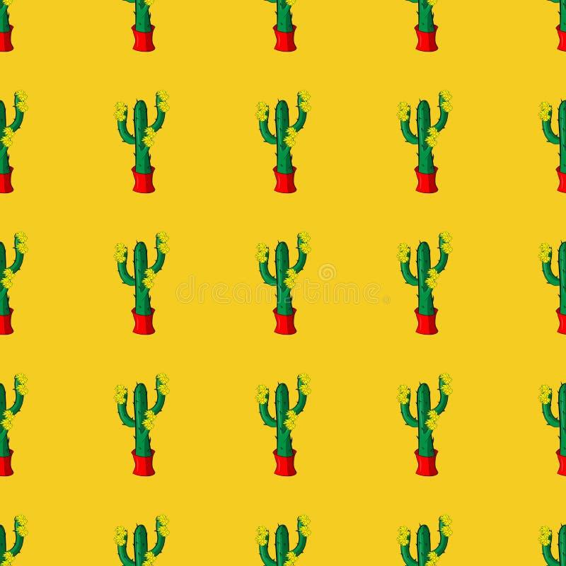 Sömlösa retro kaktusväxter för den hem- illustrationmodellen vektor illustrationer