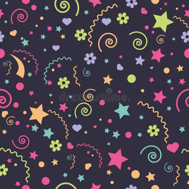 Sömlösa roliga färgrika olika beståndsdelar för barn` s av en stjärna, blommor, hjärtor stock illustrationer