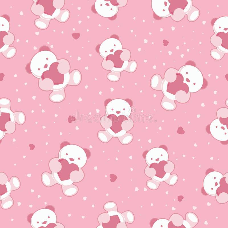 Sömlösa rosa färger behandla som ett barn bakgrund med nallebjörnen och  royaltyfri illustrationer