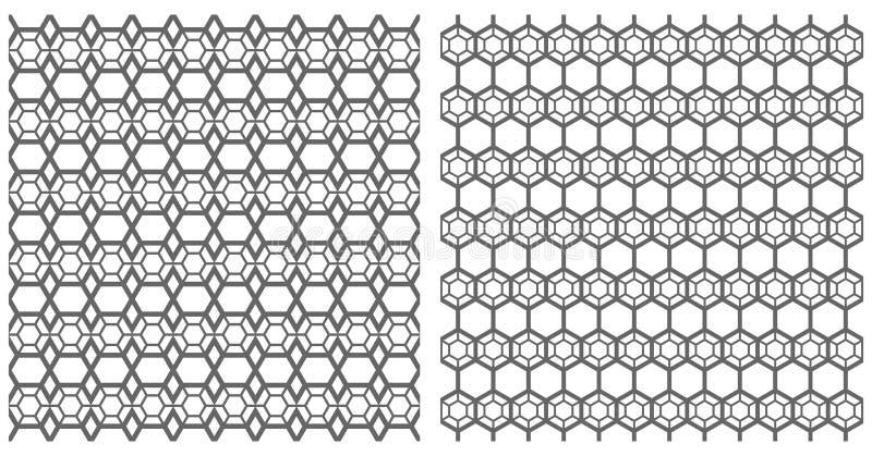 Sömlösa sexhörningsmodeller Latticed texturer vektor illustrationer