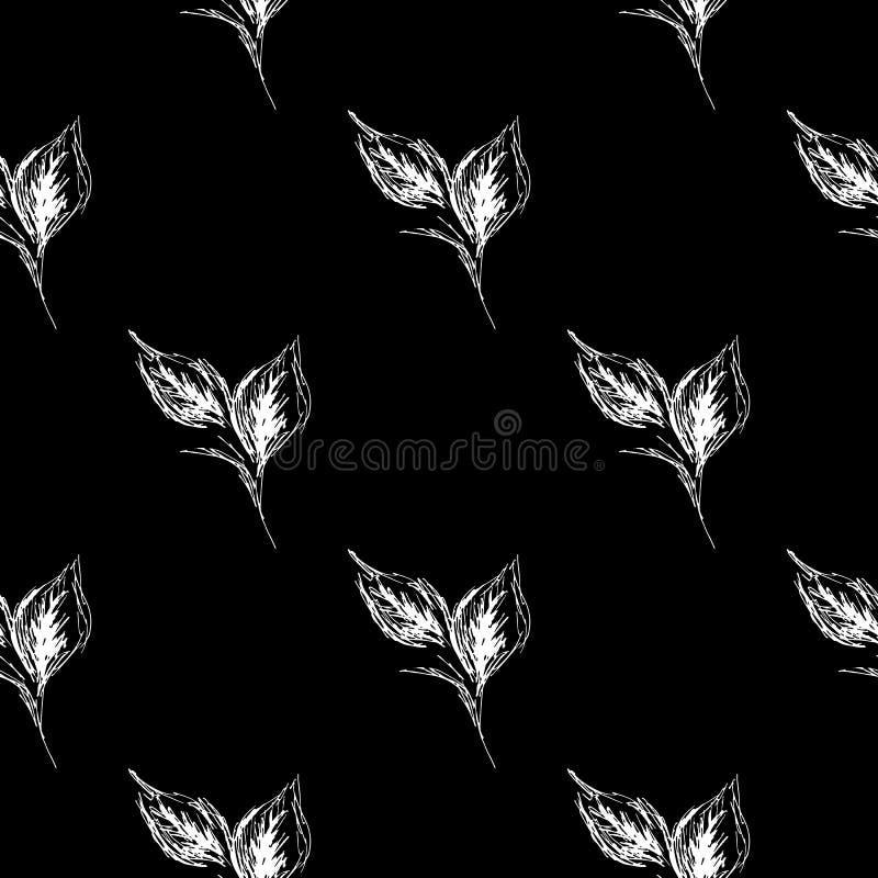 Sömlösa sidor för översiktsklotter i linjen konststil på svart bakgrund Blom- s?ml?s modell f?r ?versikt Gullig enkel design Hand stock illustrationer