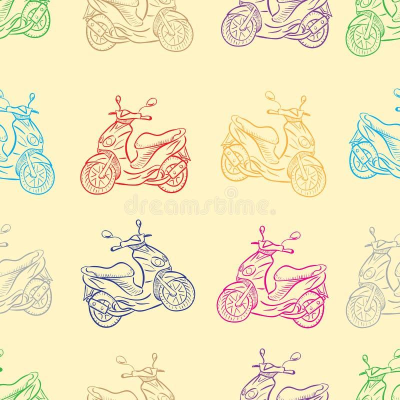 Sömlösa sparkcykelkonturer stock illustrationer
