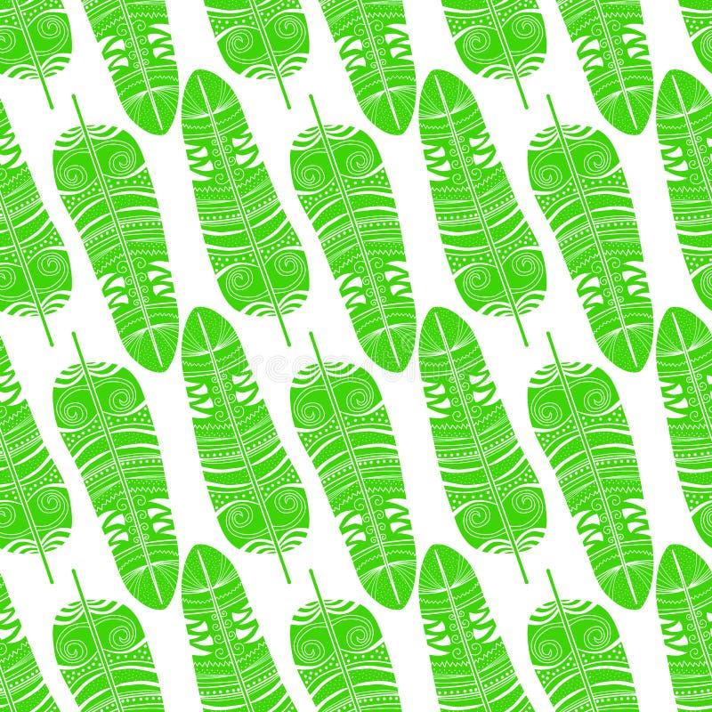 Sömlösa stam- indierfjädrar stock illustrationer