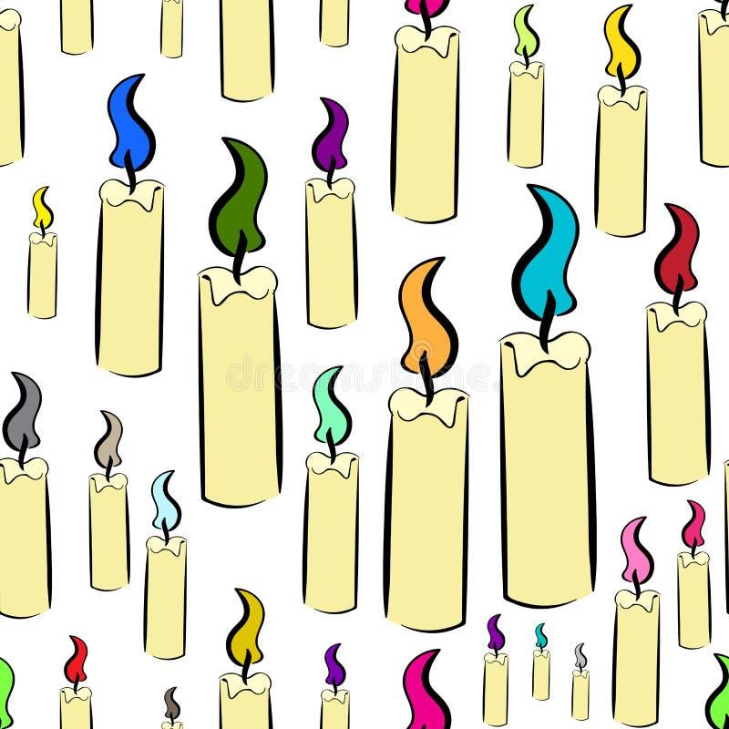 Sömlösa stearinljus färgbrand vektor illustrationer