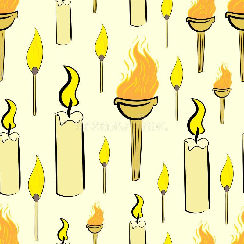 Sömlösa stearinljus och fackla stock illustrationer