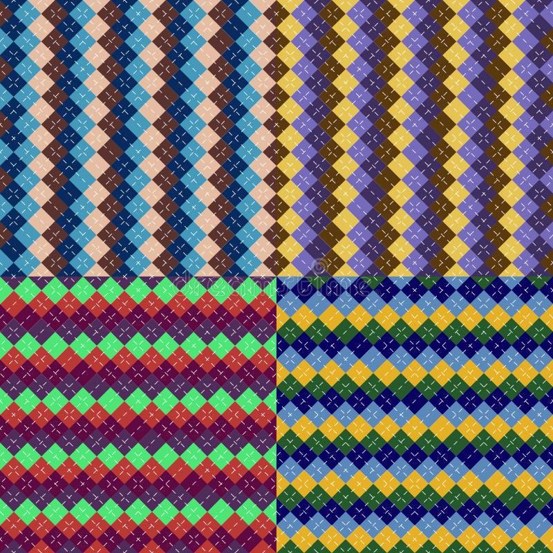 Sömlösa stilar för argylemodelltextur vektor illustrationer