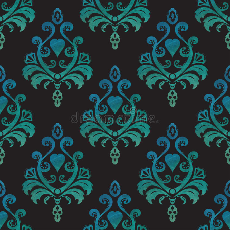 Sömlösa tapeter för vattenfärg i stilen av barock på svart bakgrund också vektor för coreldrawillustration vektor illustrationer