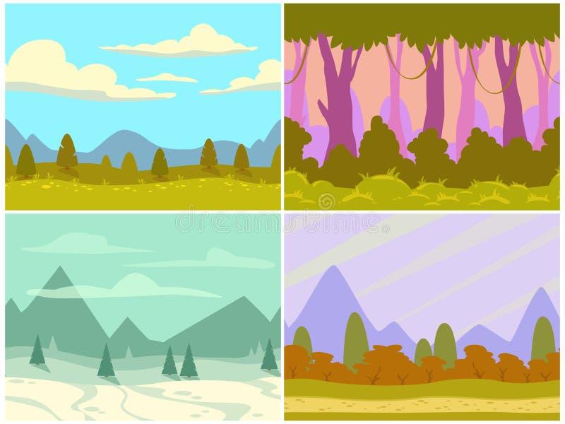 Sömlösa tecknad filmnaturlandskap vektor illustrationer