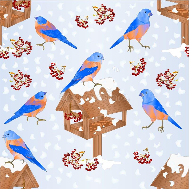 Sömlösa texturblåsångare med förlagemataren med handen dra för illustration för vektor för tappning för naturlig bakgrund för snö stock illustrationer