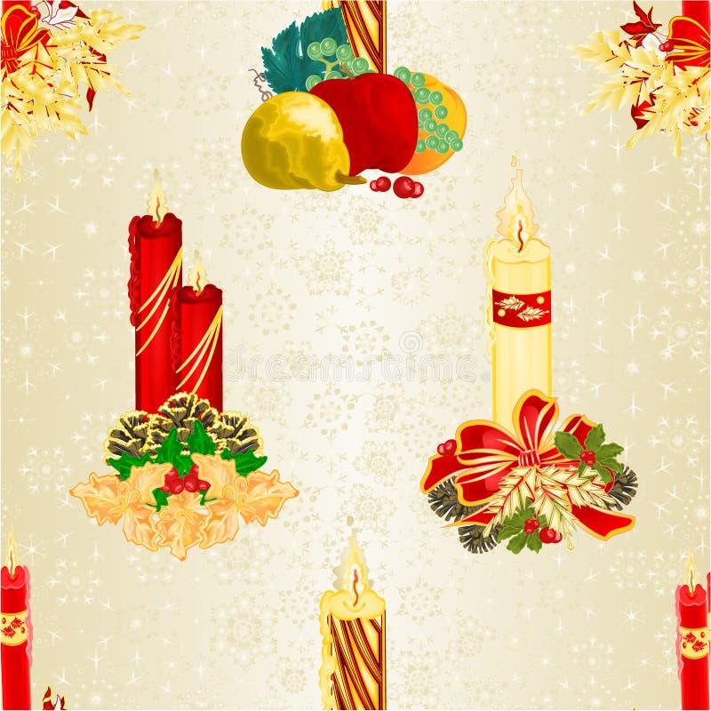 Sömlösa texturjullevande ljus med sörjer kottar och den heliga och olika illustrationen för vektor för frukt- och guldsnöflingata vektor illustrationer