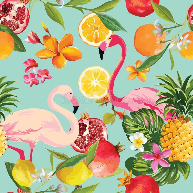 Sömlösa tropiska frukter och flamingomodell vektor illustrationer