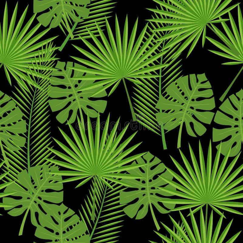 Sömlösa tropiska sidor - gömma i handflatan, monsteraen stock illustrationer