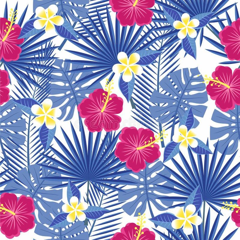 Sömlösa tropiska sidor och blommor - gömma i handflatan, monsteraen, hibiskusen och plumeria stock illustrationer