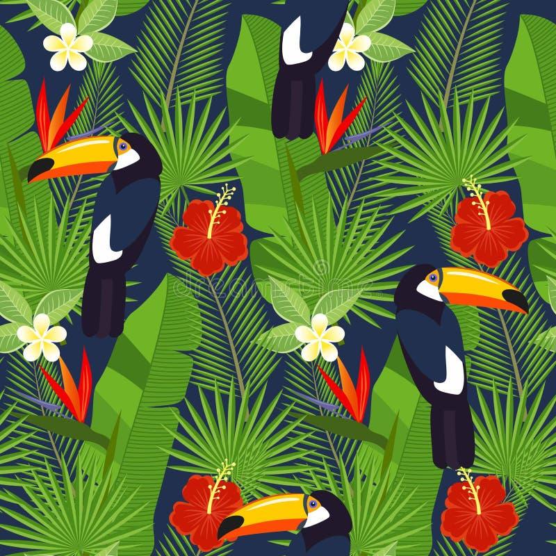 Sömlösa tropiska sidor och blommor - gömma i handflatan, monsteraen, hibiskusen och plumeria, strelitziareginae och tropiska fågl stock illustrationer