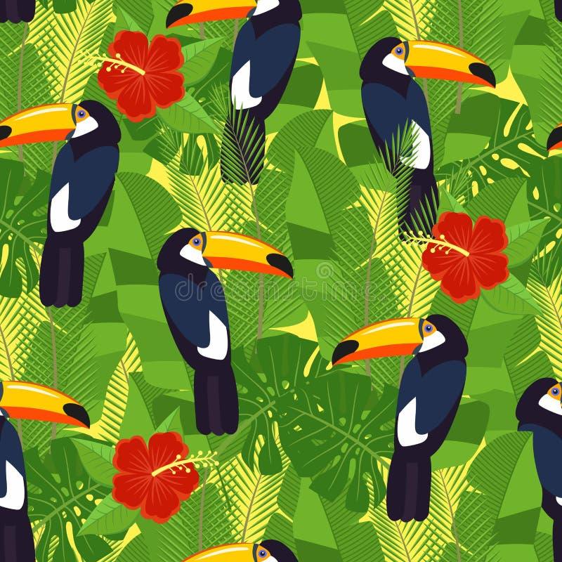 Sömlösa tropiska sidor och blommor - gömma i handflatan, monsteraen, hibiskusen och plumeria, strelitziareginae och tropiska fågl vektor illustrationer