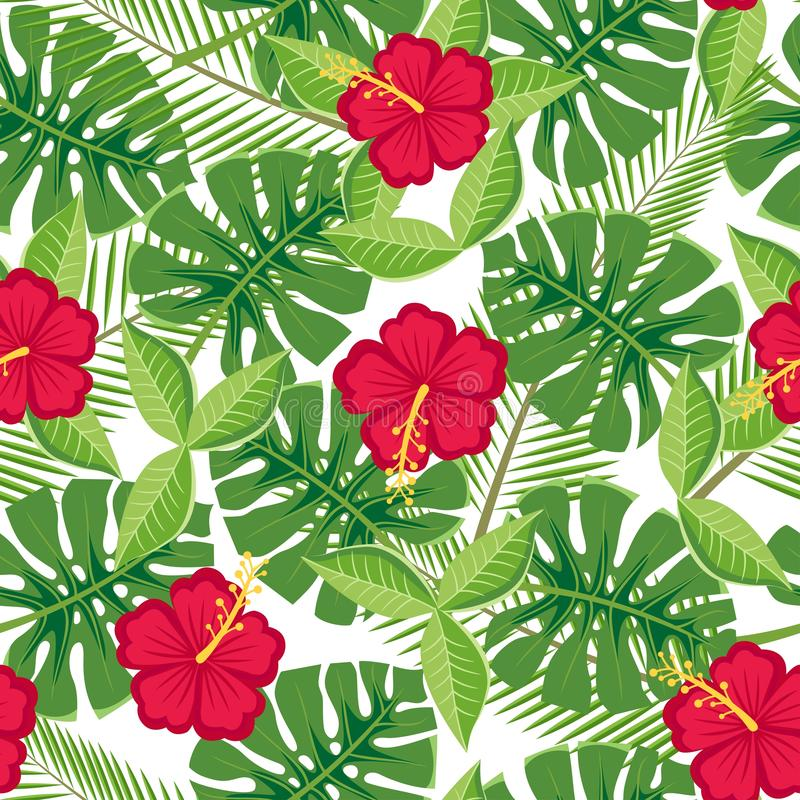 Sömlösa tropiska sidor och blommor - monstera och hibiskus på en vit bakgrund vektor illustrationer