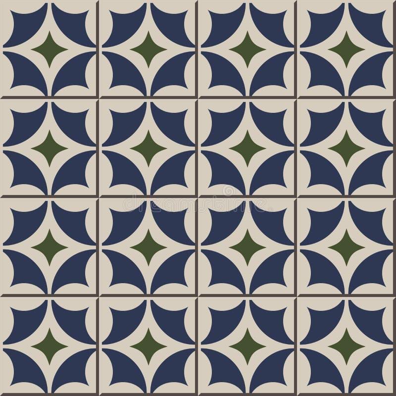 Sömlösa väggtegelplattor för tappning av rund diamantgeometri Marockanskt portugis royaltyfri illustrationer