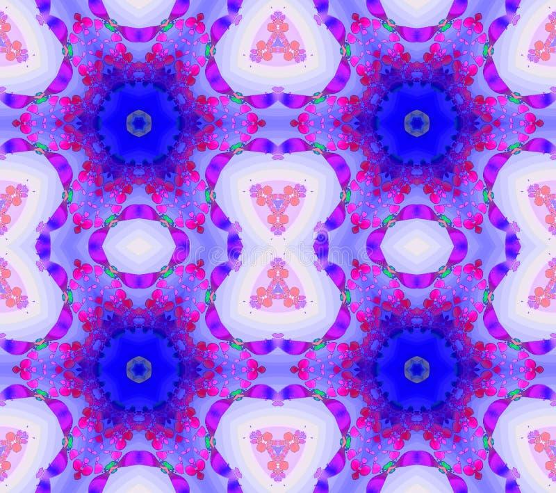 Sömlösa vanliga blom- modellblått och lilor royaltyfri illustrationer