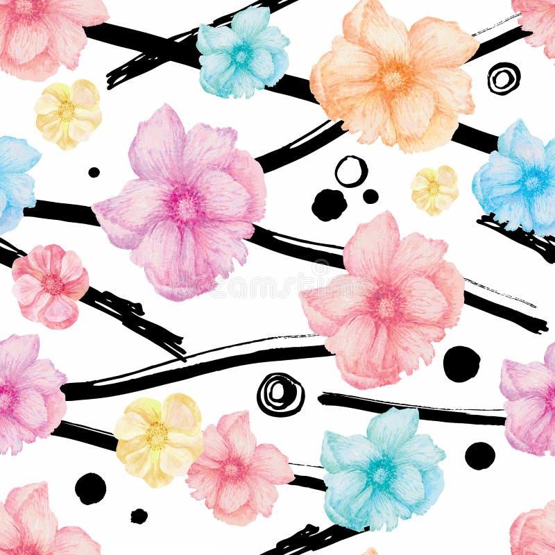 Sömlösa vattenfärgblommor stock illustrationer