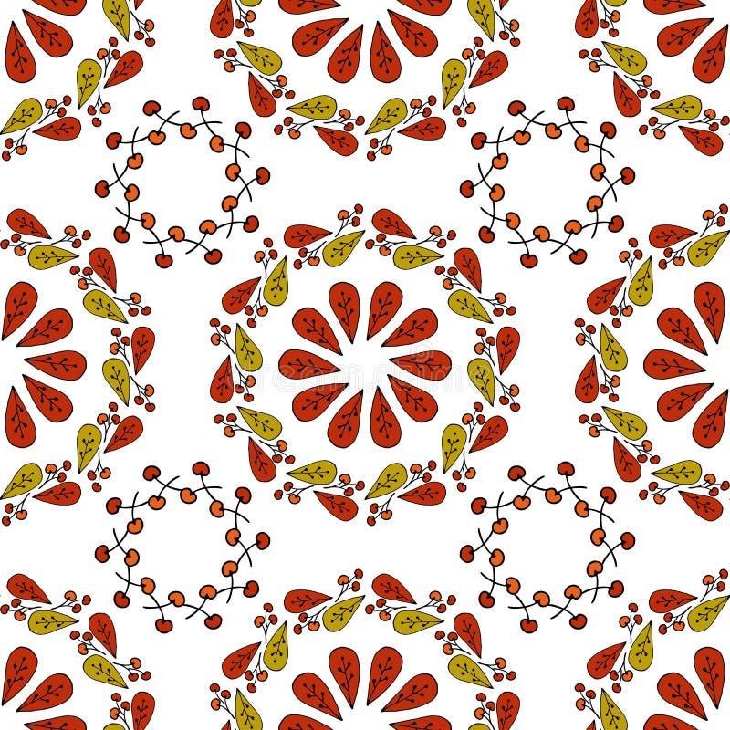 Sömlösa vektorhöstsidor på vit bakgrund Blom- modell med höstsidor Dana stil för tryck, den siden- textilen, cush vektor illustrationer