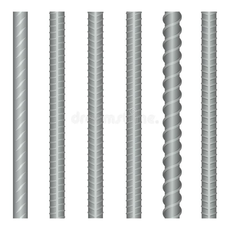 Sömlösa vektorstålrebars, förstärkninguppsättning vektor illustrationer