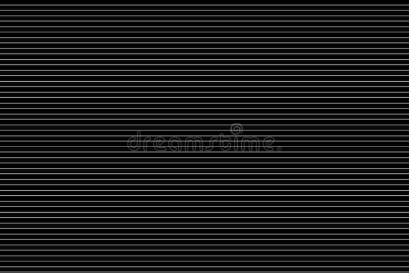 Sömlösa vita horisontalbandlinjer modell på svart bakgrund, idérikt abstrakt begrepp vektor f?r bild f?r designelementillustratio royaltyfri fotografi