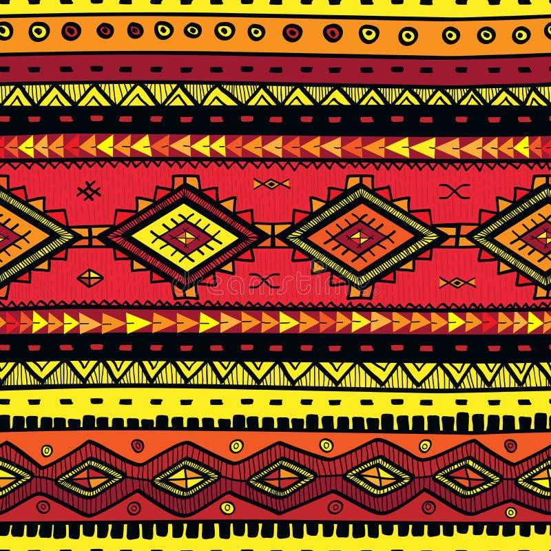 Sömlöst abstrakt begrepp hand-dragen ethnomodell, stam- bakgrund royaltyfri illustrationer