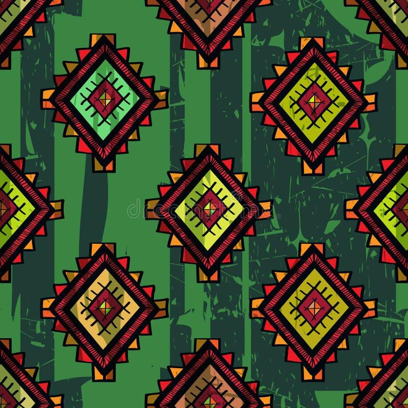 Sömlöst abstrakt begrepp hand-dragen ethnomodell, stam- bakgrund vektor illustrationer