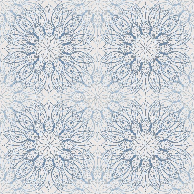Sömlöst abstrakt tänder - den blåa mandalamodellen, blom- bakgrund vektor illustrationer
