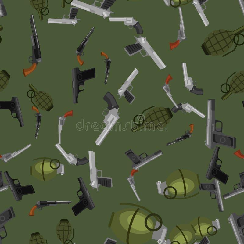 Sömlöst automatisk och handvapen för militärt vapen för modell, i tidskrifttrumma med kulor för skydd eller krig royaltyfri illustrationer