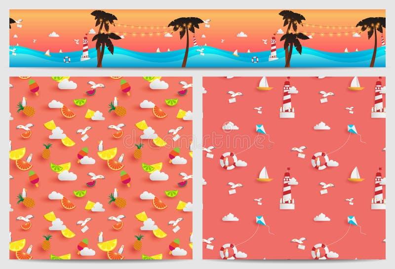 Sömlöst av sommar som dekoreras i fyrkant och parallax stock illustrationer
