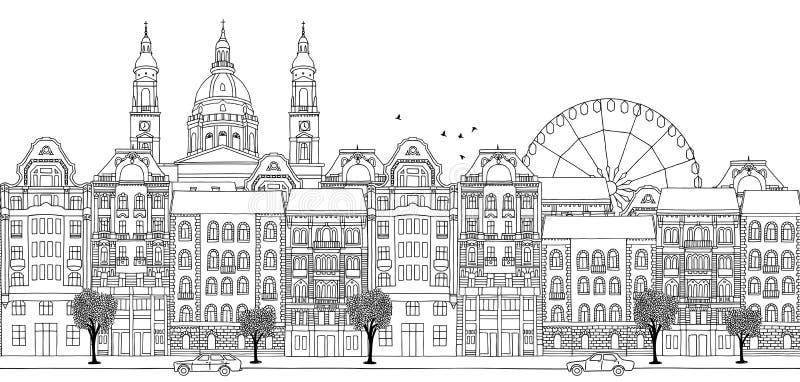 Sömlöst baner av Budapest, Ungern vektor illustrationer